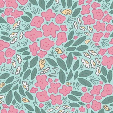 Садовые цветы на мятном фоне