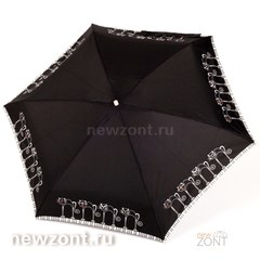 Плоский женский черный мини зонтик NEX с кошечками