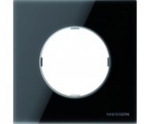 Рамка на 1 пост. Цвет Черное стекло. ABB(АББ). Skymoon(Скаймун). 2CLA867100A3101