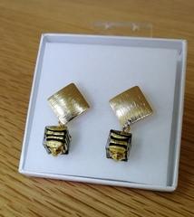 Квадратные желтые серьги под золото