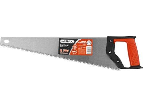 Ножовка по дереву (пила) MIRAX Universal 450 мм, 5 TPI, рез вдоль и поперек волокон, для крупных и средних заготовок