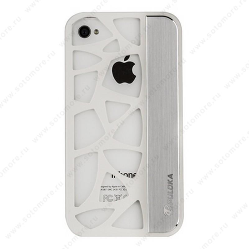 Накладка R PULOKA для iPhone 4s/ 4 с отверстиями белая