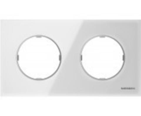 Рамка на 2 поста. Цвет Белое стекло. ABB(АББ). Skymoon(Скаймун). 2CLA867200A3001