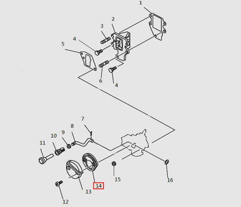 Прокладка глушителя карбюратора для лодочного мотора T9.8 Sea-PRO (4-14)