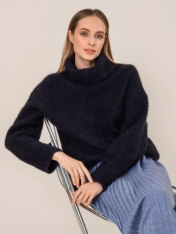 Женский свитер темно-синего цвета из шерсти - фото 3