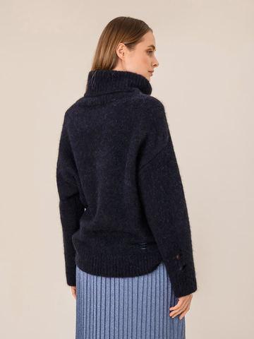 Женский свитер темно-синего цвета из шерсти - фото 4