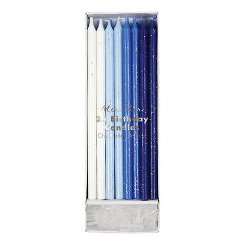 Свечи восковые, прямые, голубые