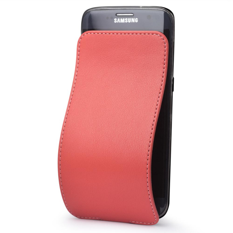 Чехол для Samsung Galaxy S7 edge из натуральной кожи теленка, кораллового цвета