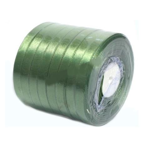 Лента атласная (размер: 10 мм х 50 ярд) Цвет: зеленый мох