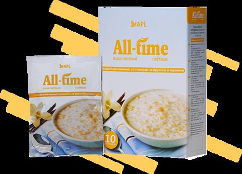 APL. Каша All-Time овсяная с натуральной ванилью со сливками и инулином 10 пакетиков по 45 граммов