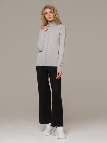 Женский джемпер цвета светло-серый меланж из шерсти и шелка - фото 5