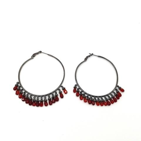 Серьги-кольца Drop из чёрного серебра с рубиновыми подвесками