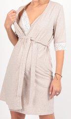 Евромама. Комплект халат и сорочка с кружевом, меланж бежевый вид 5