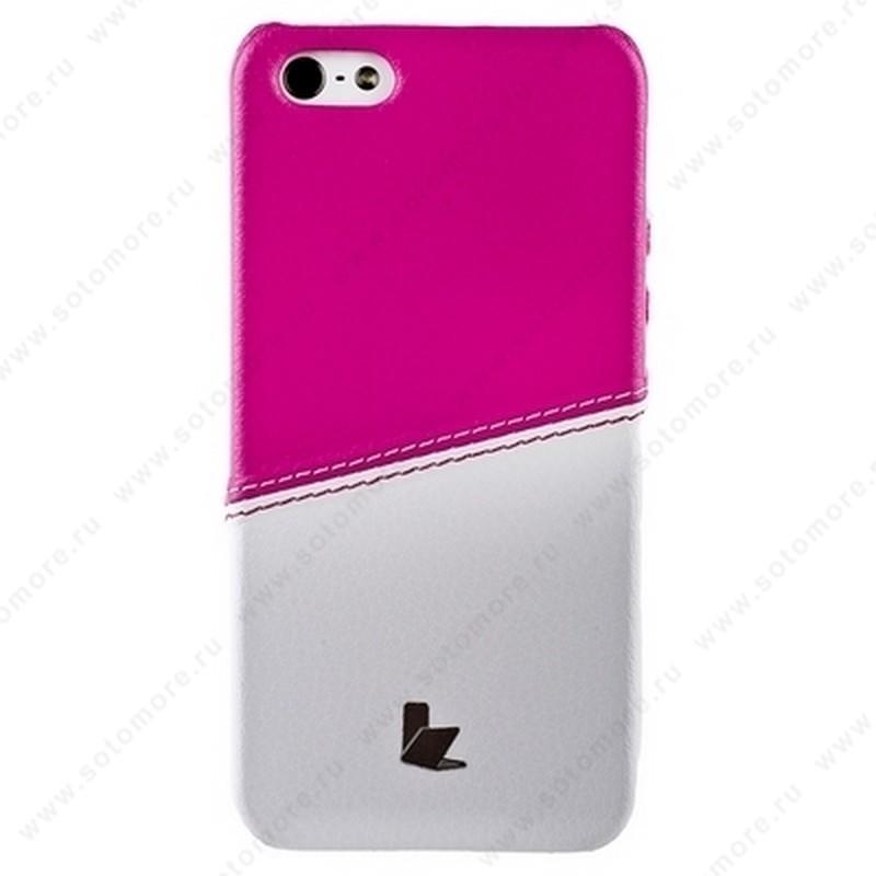 Накладка Jisoncase для iPhone SE/ 5s/ 5C/ 5 двухцветная белая/розовая JS-IP5-05H