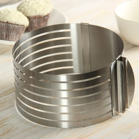 Кольцо раздвижное для нарезания бисквита D16-20 H8 см, оптом 5 шт.