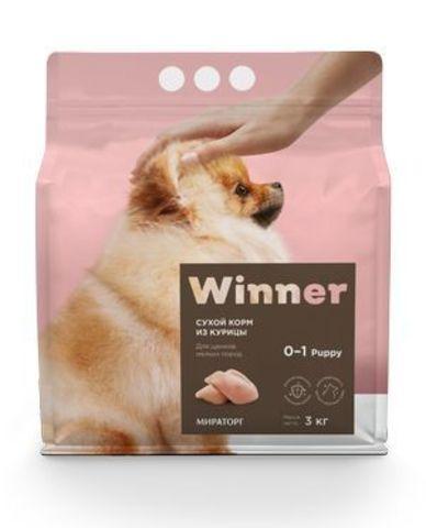 WINNER Корм сухой полнорационный для щенков мелких пород из Курицы 3 кг.
