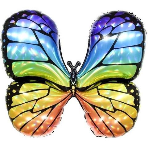 Воздушный шар фигура с гелием Бабочка разноцветная, голография, 79 см