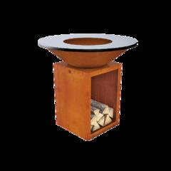 Очаг-гриль KORWOOD  с чугунной жарочной поверхностью и дровницей
