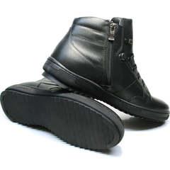 Кеды ботинки мужские зимние кожаные Ikoc 1608-1 Sport Black.