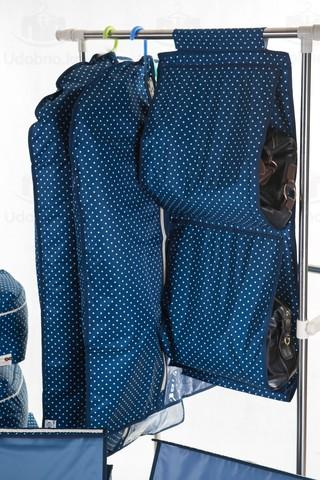 Чехол для средней одежды с прозрачной половиной, 60*100 см (темно-синий в горошек)