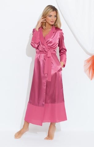 Passion 218 брусничный  шелковый женский халат  с шифоновой вставкой PECHE MONNAIE Россия