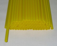 Трубочки полимерные для шаров, флагштоков и сахарной ваты Желтые (100 шт), диаметр 5 мм, длина 370 мм