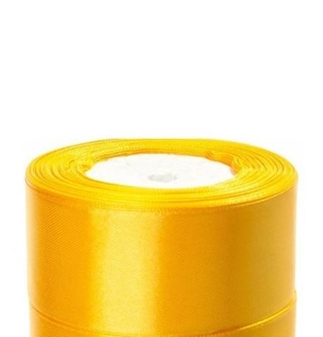Лента атласная (размер:40мм х 25 ярдов) Цвет:желтый