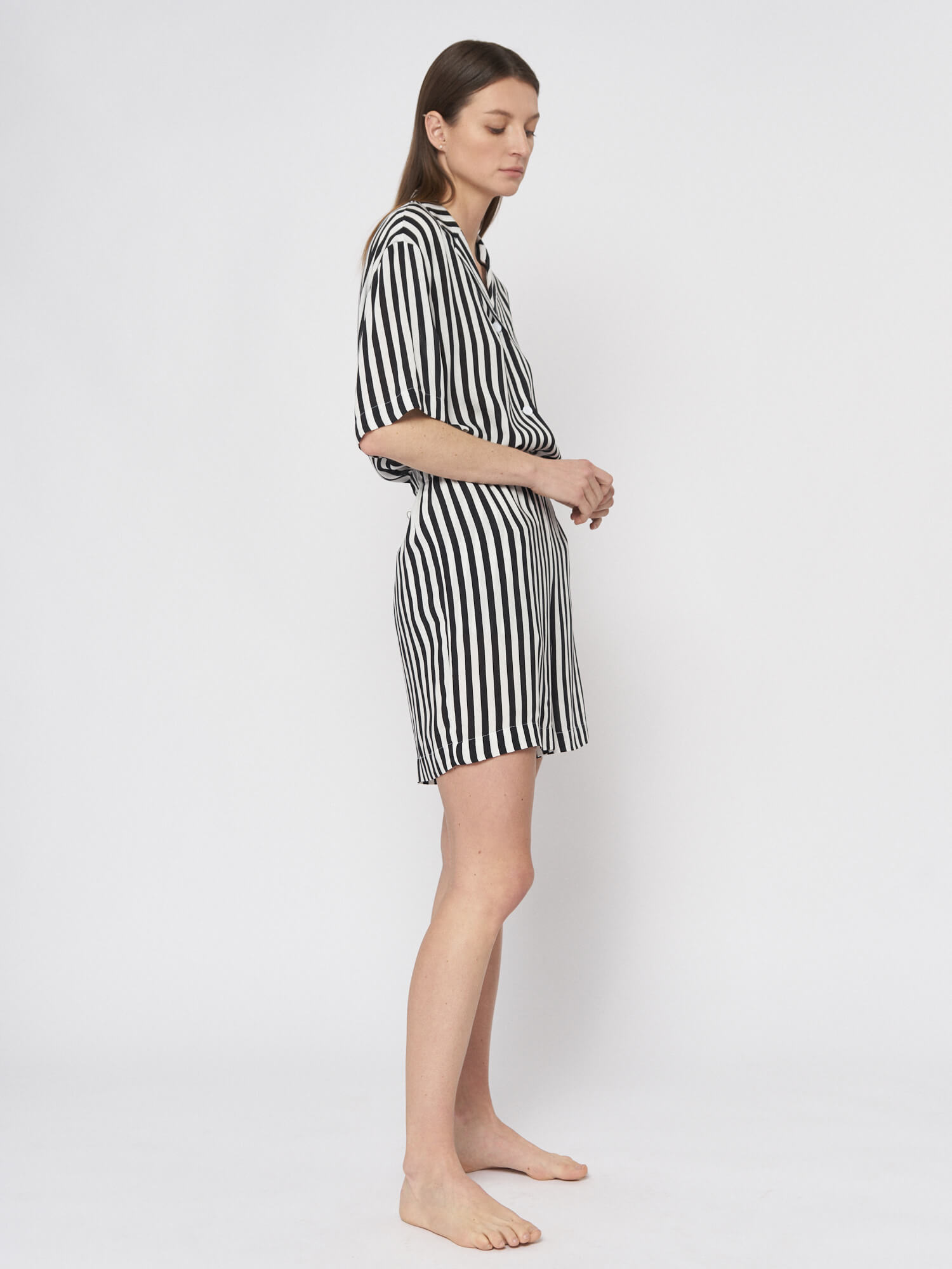 Мини–шорты в полоску Lexi в пижамном стиле, Черный