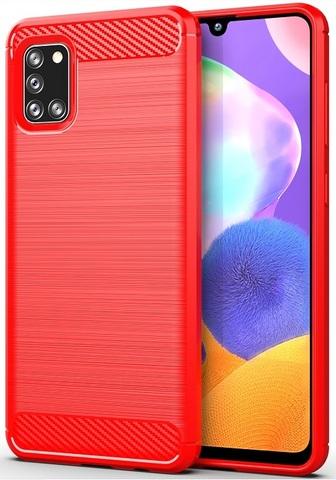 Чехол красного цвета для Samsung Galaxy A31 , серия Carbon от Caseport