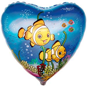 Фольгированный шар Рыбки-клоуны 18