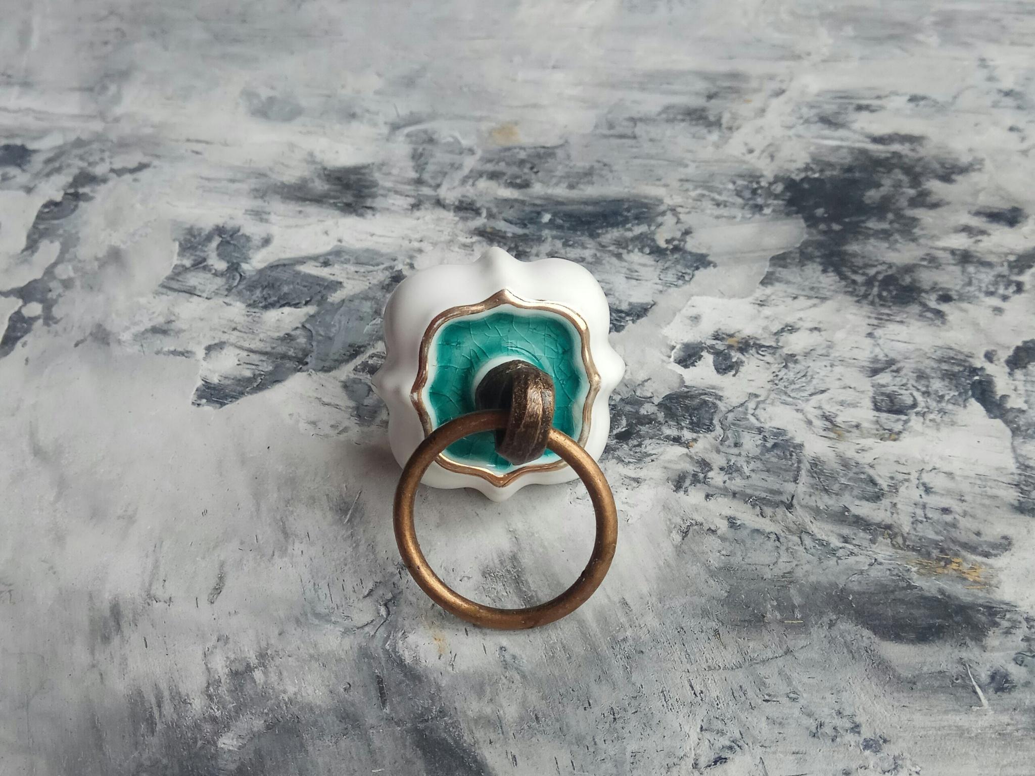 Ручка мебельная керамическая с кольцом, арт. 00001082