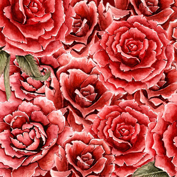 Водорастворимая бумага Красные розы фон