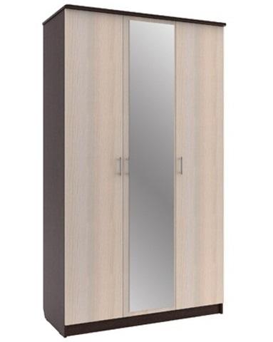 Шкаф Шр-3 дуб выбеленный / венге с зеркалом