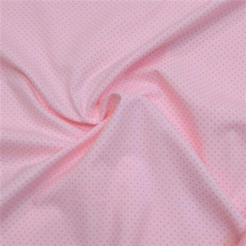 Ткань хлопковая розовые точки на розовом