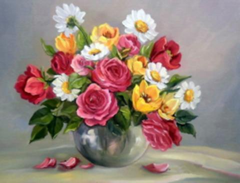 Картина раскраска по номерам 30x40 Цветы в металической вазе (арт. KTL1303)