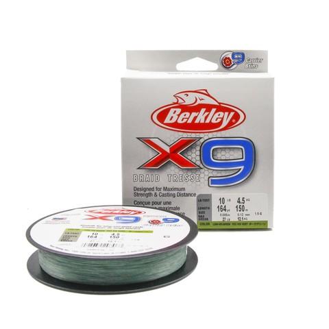 Плетеная леска Berkley X9 150м Темно-зеленая 0,12мм 4,5кг