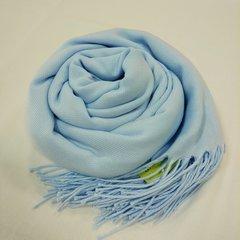 Кашемировый однотонный голубой палантин (35)