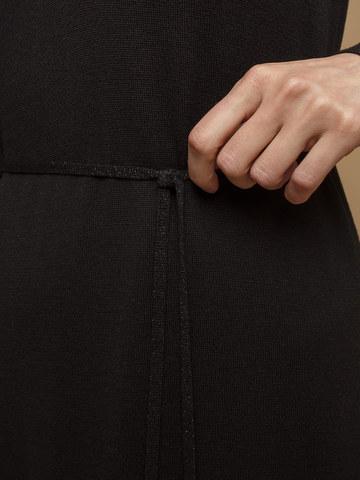 Женское платье черного цвета из шерсти и шелка - фото 6