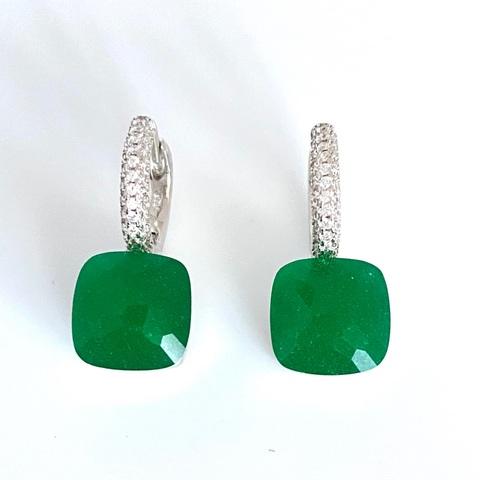 33336 -Серьги Caramel из серебра с матовыми, зелеными кварцами