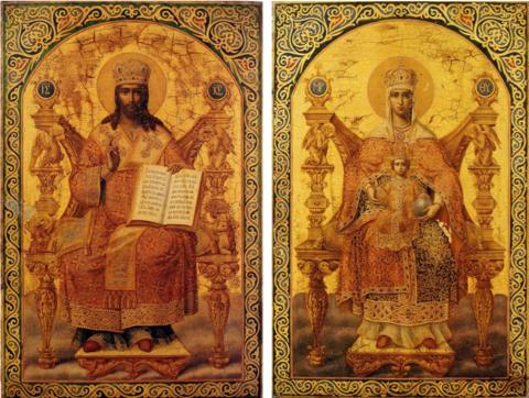 Иконы Спасителя и Богородицы венчальная пара дереве на левкасе мастерская Иконный Дом