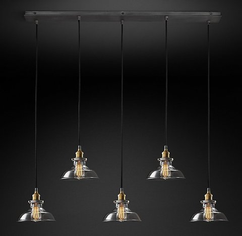 Подвесной светильник копия 20th C. Factory Filament Clear Glass Barn Rectangular  Pendant by Restoration Hardware