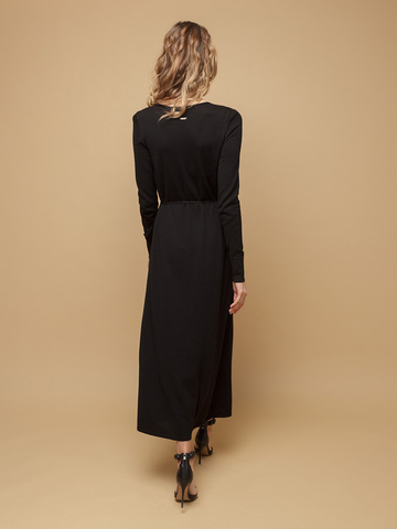 Женское платье черного цвета из шерсти и шелка - фото 4