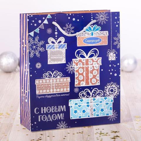 Пакет «Подарки», 18×23×8 см