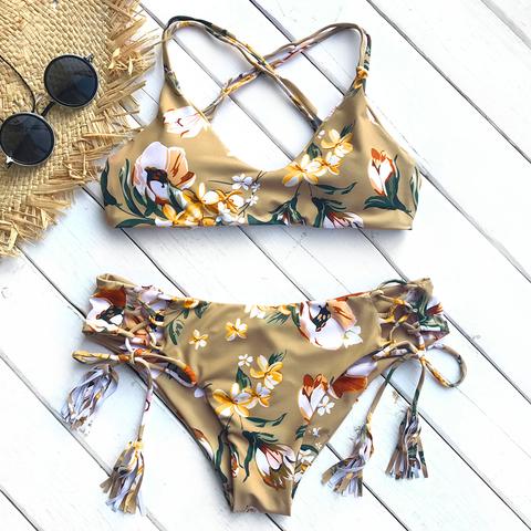 купальник золотой коричневый с цветами бразильяно