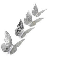 Наклейки Бабочки №3 12 шт бумага серебро, Размер: 8 см-4 шт, 10 см-4 шт, 12 см-4 шт.