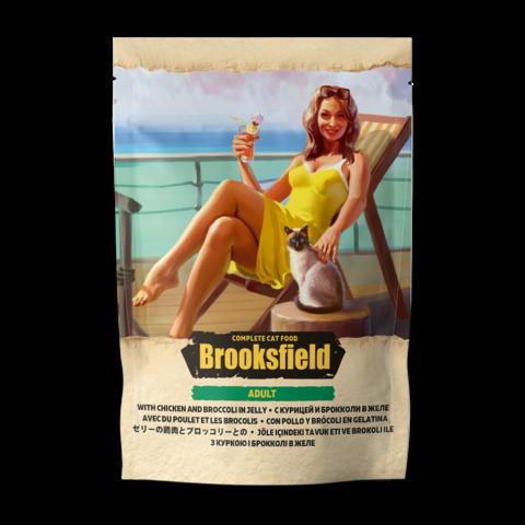 Brooksfield Adult Chicken with Broccoli Консервы для кошек с курицей и брокколи в желе (пауч)