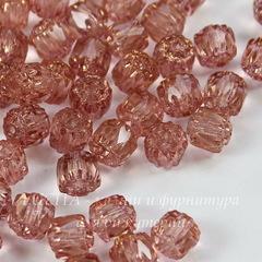 Бусина Crown Picasso Бочонок с огранкой, 6 мм, светло-розовая с бронзой