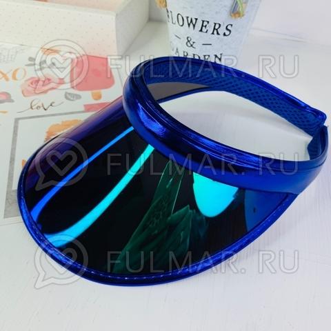 Козырёк-ободок от солнца на голову зеркальный Синий с зелёными переливами