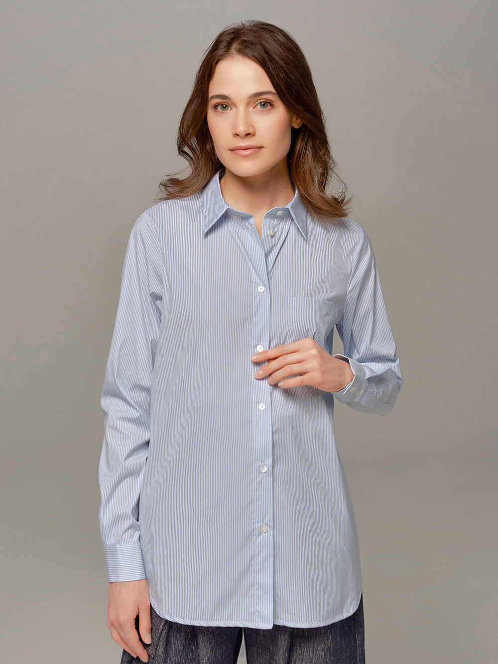 Женская рубашка цвета деним Eleventy - фото 1