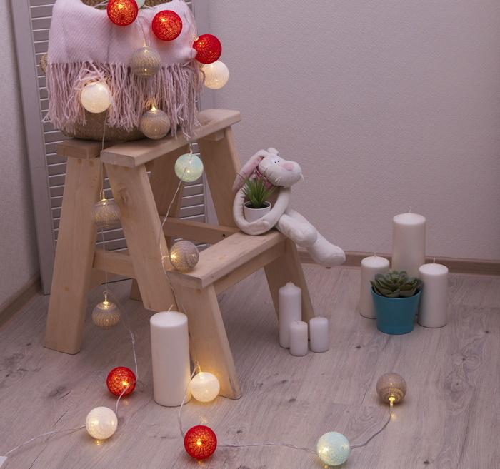 Ночник гирлянда Клубки шарики красно-голубые d-6 см, 5 м фото